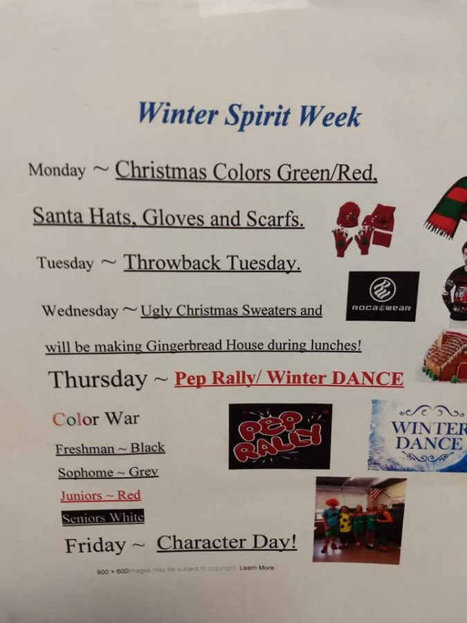 *Spirit Week & Pep Rally Lead Up to Winter Dance 12/13/18 6:30-10PM